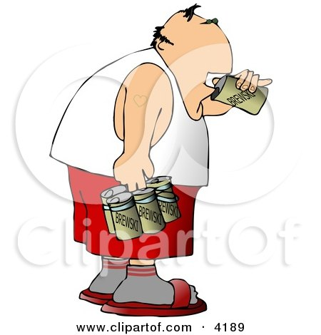 Man Drinking a Six Pack Of Beer Clipart by djart