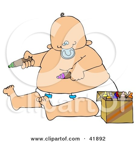 Clipart Illustration of a Chubby Baby Boy In A Diaper, Sucking On A Pacifier And Coloring With Crayons by djart