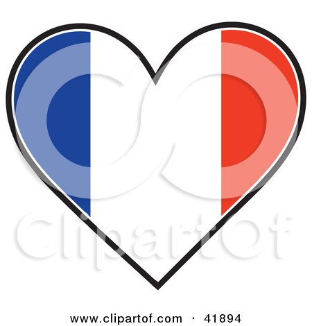 Clipart Illustration of a Heart Shaped France Tricolour Flag by Maria Bell