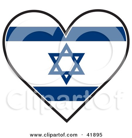 Clipart Illustration of a Heart Shaped Israel Flag With The Star of David by Maria Bell