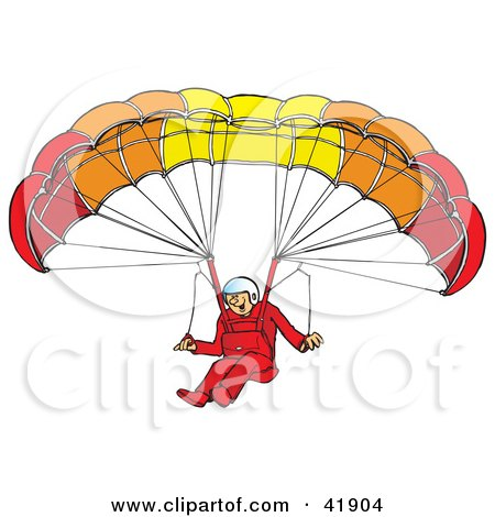 Clipart Illustration of a Happy Paraglider Descending And Connected To A Parachute by Snowy