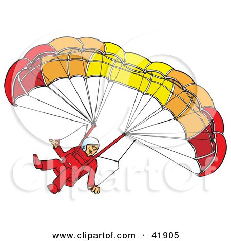 Clipart Illustration of an Amazed Paraglider Descending And Connected To A Parachute by Snowy