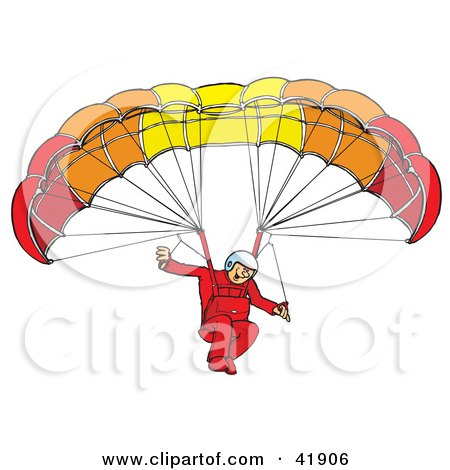 Clipart Illustration of an Amazed Paraglider Connected To A Parachute by Snowy