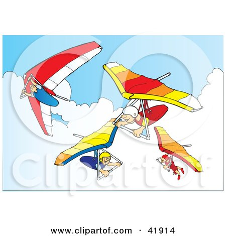 Clipart Illustration of Four Hanggliders in the Sky by Snowy