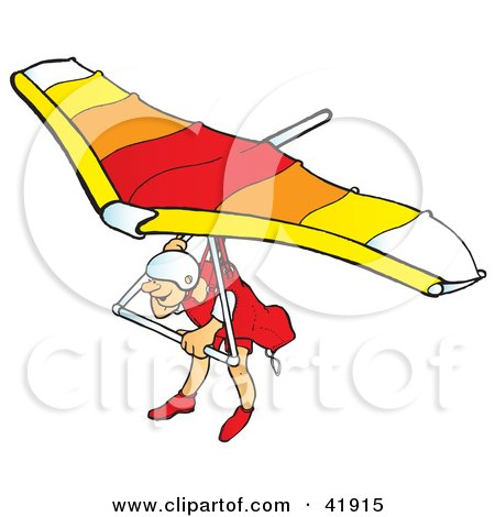 Clipart Illustration of a Hangglider Gliding in Awe by Snowy