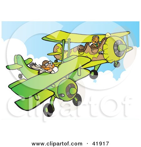 Clipart Illustration of a Military Pilot Flying A Camouflage Plane Near Another Biplane by Snowy