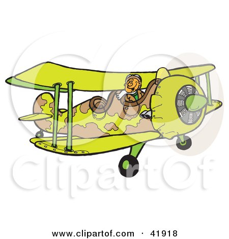 Clipart Illustration of a Military Pilot Flying A Camouflage Combat Biplane by Snowy