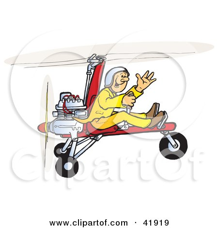 Clipart Illustration of a Waving Pilot Flying An Autogyro by Snowy