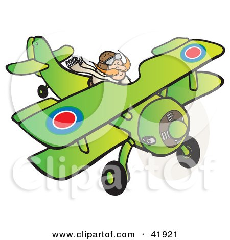 Clipart Illustration of an RFC Pilot Flying a Biplane by Snowy