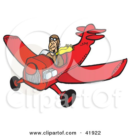 Clipart Illustration of a Grinning Pilot Flying A Red Airplane by Snowy