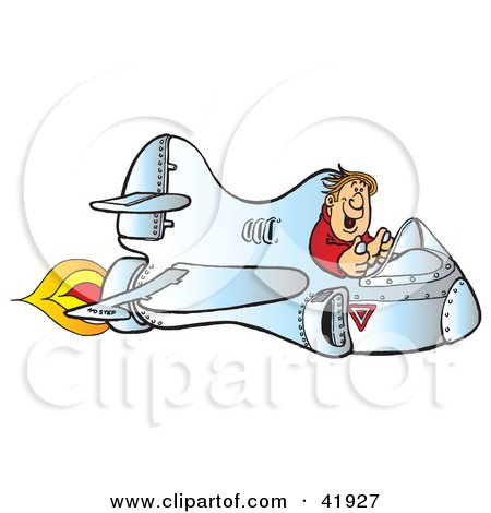 Clipart Illustration of a Happy Pilot Flying A Fast Flaming Jet by Snowy
