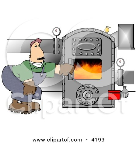 Man Opening the Door of a Hot Boiler with Valves Clipart by Dennis Cox