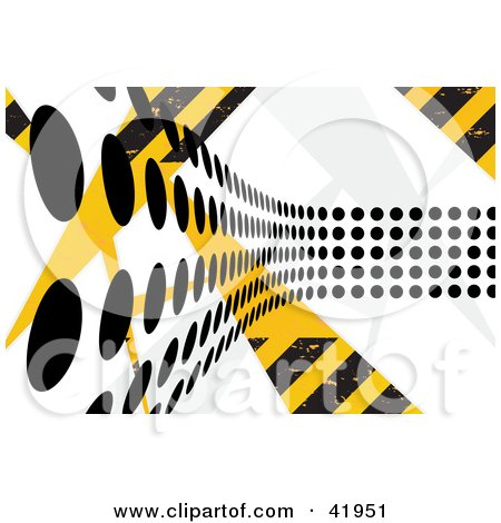 Clipart Illustration of a Background Of Black Dot Paths Going Over Yellow And Black Hazard Stripes by Arena Creative