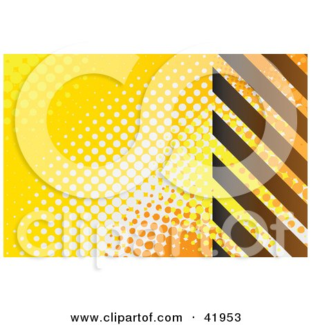 Clipart Illustration of a Background Of Yellow, White And Orange Dots And Brown Hazard Stripes by Arena Creative