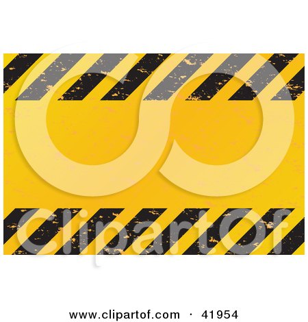 Clipart Illustration of a Grungy Yellow Text Box Bordered With Black Hazard Stripes by Arena Creative