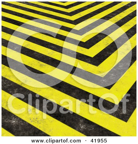 Clipart Illustration of a Background Of Grungy Black And Yellow Hazard Stripes by Arena Creative