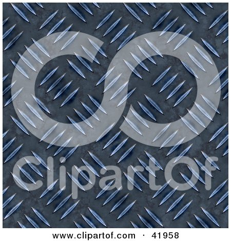 Clipart Illustration of a Dark Blue Diamond Plate Metal Background by Arena Creative