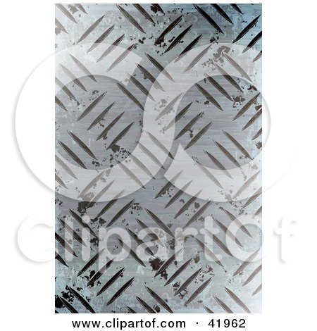 Clipart Illustration of a Worn Diamond Plate Metal Background by Arena Creative