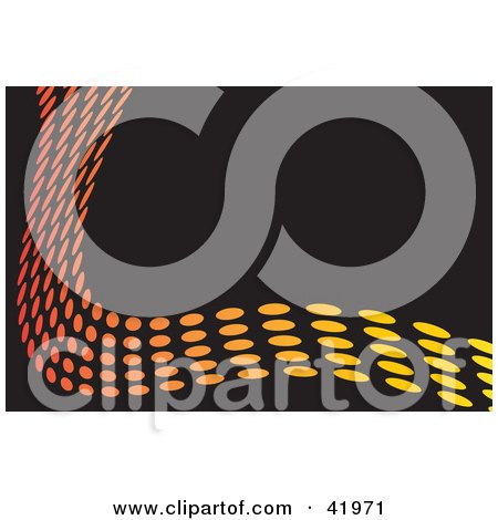 Clipart Illustration of a Colorful Wave Of Orange And Yellow Dots Bordering A Black Background by Arena Creative
