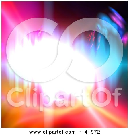 Clipart Illustration of a Bright Burst Of Light In The Center Of A Colorful Background by Arena Creative