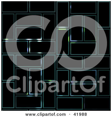 Clipart Illustration of a Black Background With Faint Glowing Rectangle Text Boxes by Arena Creative