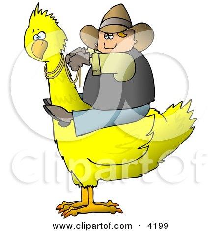 Cowboy Riding a Big Yellow Bird Posters, Art Prints