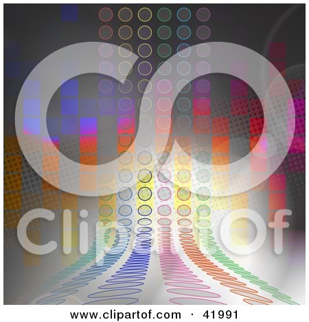 Clipart Illustration of a Rainbow Colored Circle Path Over A Gray Background With Pixel Rainbows by Arena Creative