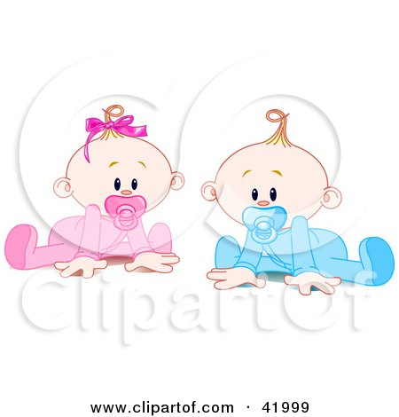 Clipart Illustration of a Twin Baby Boy And Girl With Pacifiers, Trying To Crawl by Pushkin