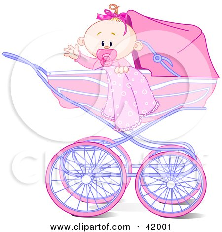 Clipart Illustration of a Waving Baby Girl With A Blanket And Pacifier, In A Carriage by Pushkin