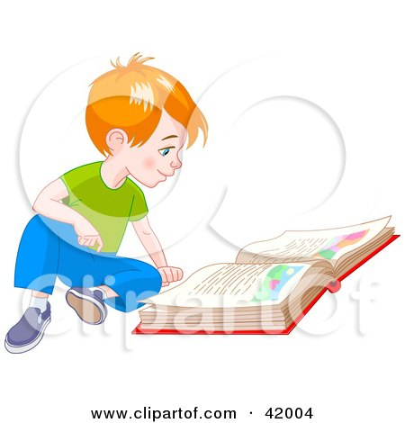 Red Haired Little Boy Sitting On The Floor And Reading A Story Book Posters, Art Prints