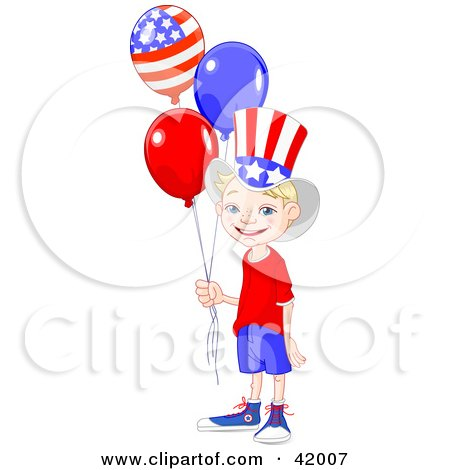 Clipart Illustration of a Happy American Boy Wearing The Stars And Stripes, Holding Patriotic Balloons by Pushkin