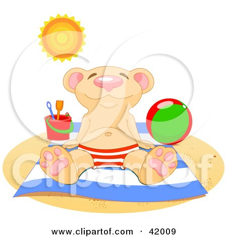 Relaxed Bear Soaking Up The Sun On A Beach Posters, Art Prints