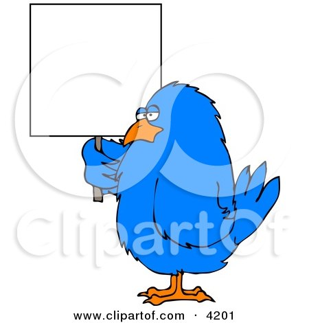 Big Blue Bird Holding a Blank Sign Posters, Art Prints