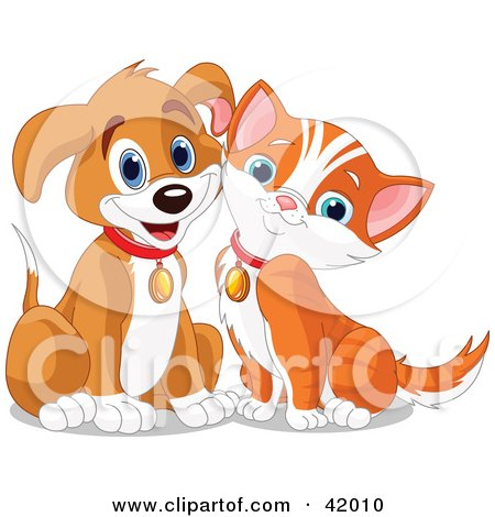 Clipart Illustration of a Happy Brown Puppy And Orange Kitten Resting Their Cheeks Together by Pushkin