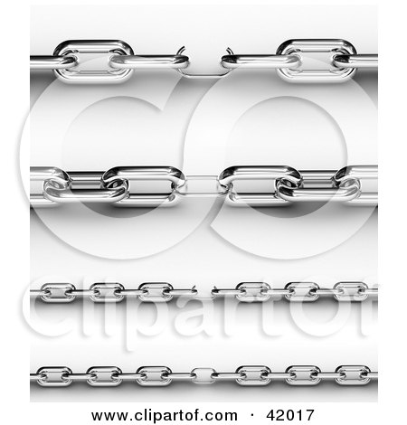 Clipart Illustration of a 3d Chrome Chain With One Small Link In The Center by stockillustrations