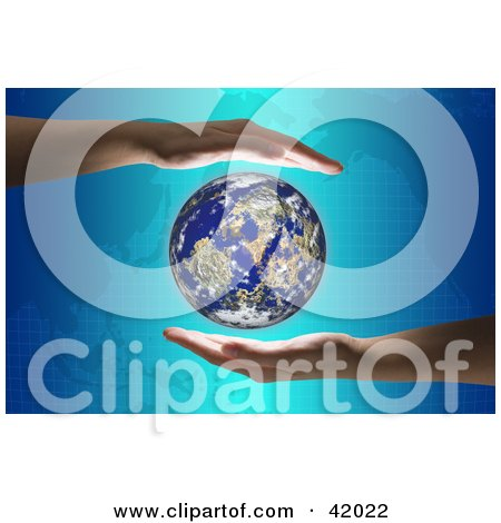 Clipart Picture of Hands Around The Globe On A Map Background by stockillustrations