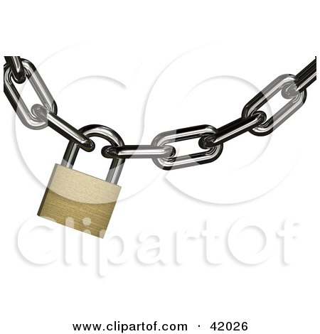 Clipart Illustration of a Golden Padlock Securing A Chain by stockillustrations