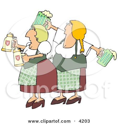 German Girls Dressed Wearing Traditional German Outfits and holding Beer Steins and Pitchers Posters, Art Prints
