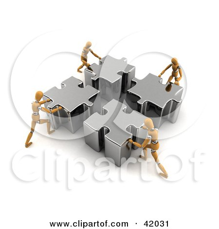 Clipart Illustration of Four Orange Models Pushing Pieces Of A Puzzle Together by stockillustrations