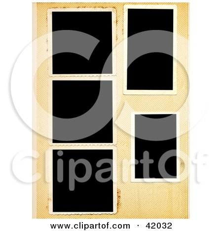 Clipart Illustration of a Background Of Blank Polaroid Pictures On An Aged Paper by stockillustrations