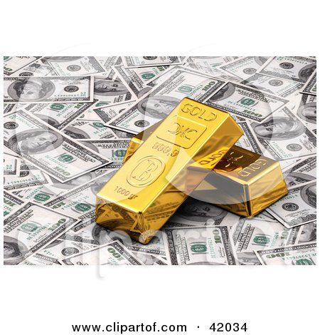 Clipart Illustration of Golden Bars Resting On Bank Notes by stockillustrations