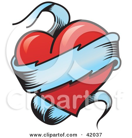 Clipart Illustration of a Blank Banner Wrapped Around A Red Heart by stockillustrations