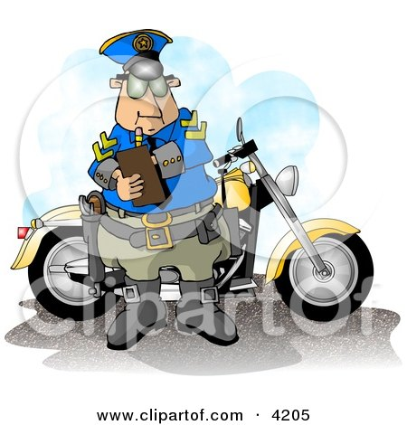 Clipart of a motorcycle policeman filling out a traffic citation/ticket form