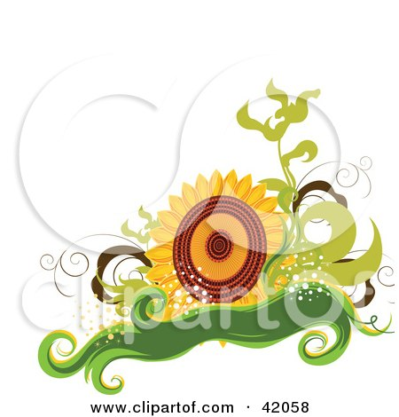 Clipart Illustration of a Nature Background Of A Big Sunflower With Green Vines And A Banner by L2studio