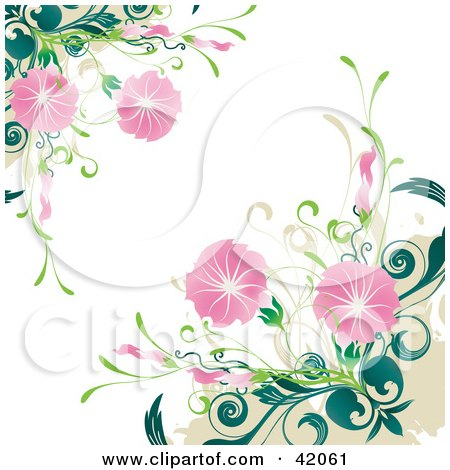 Clipart Illustration of a Grunge Floral Background Of Blooming Pink Flowers On Green Plants, Over White by L2studio