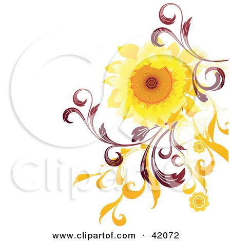 Clipart Illustration of a Nature Background Of A Bright Sunflower With Red And Orange Vines by L2studio
