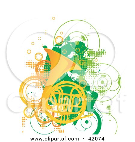 Clipart Illustration of a Grunge French Horn Background With Green And Orange Circles And Dots by L2studio
