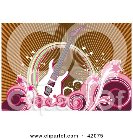 Clipart Illustration of a White Guitar With A Wave Of Swirls And Pink Stars Under A Rainbow by L2studio