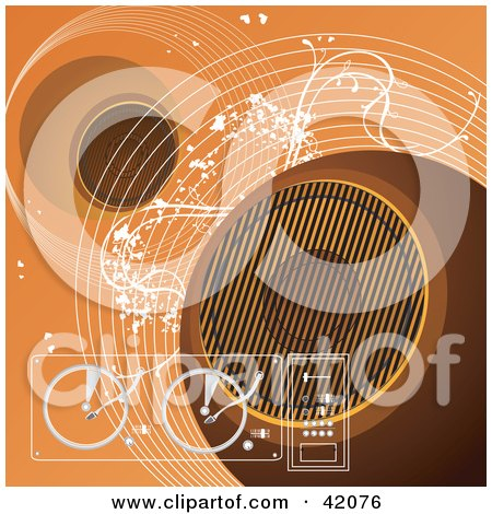 Clipart Illustration of an Orange Grunge Music Background Of Speakers, Turn Tables And Waves by L2studio
