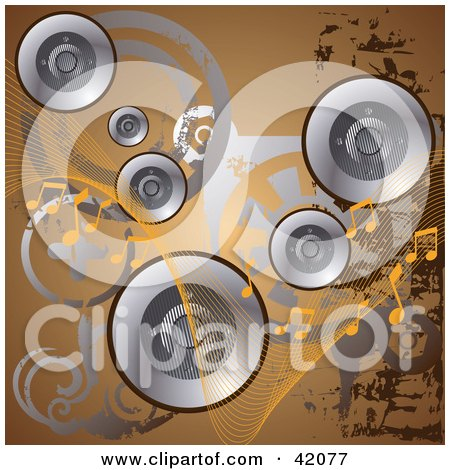 Clipart Illustration of a Brown Grunge Music Background Of Silver Speakers, Circles And Music Notes by L2studio